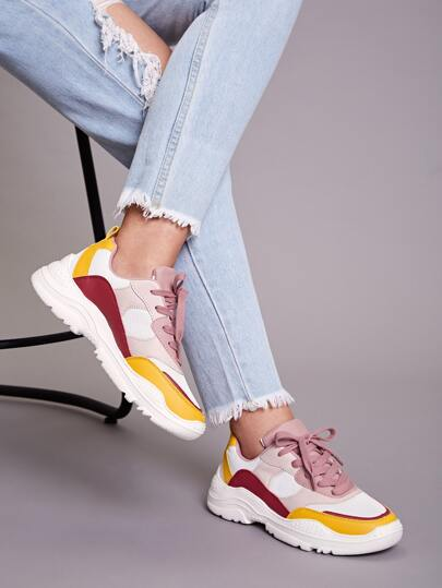 Color Block Lace-up Front Chunky Sneakers