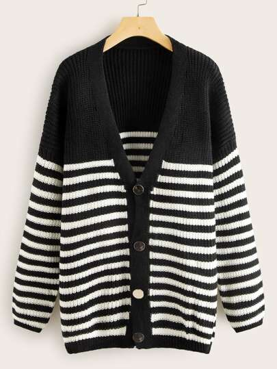 Striped Button Through V-Neck Cardigan