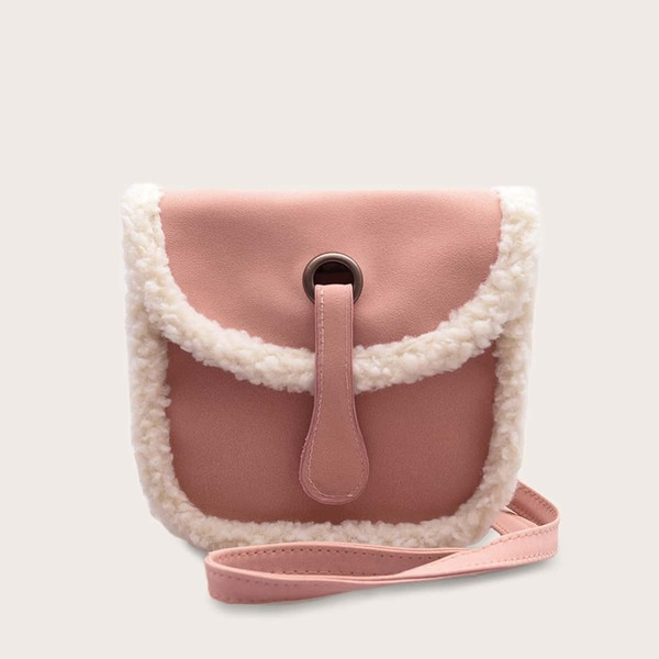 Girls Contrast Faux Fur Crossbody Bag, Pink