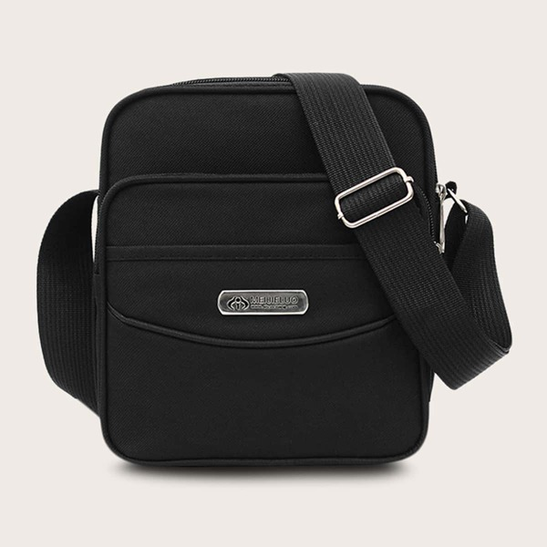Men Pocket Front Crossbody Bag, Black