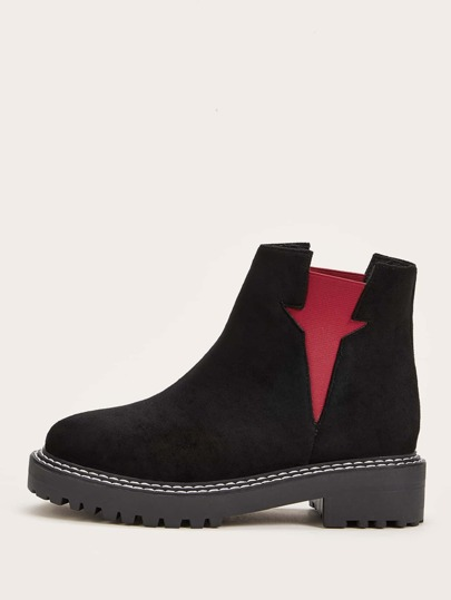 Two Tone Stitch Detail Chelsea Boots