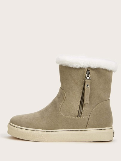 Side Zip Faux Fur Lined Boots