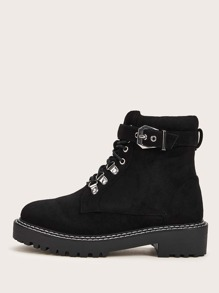 Buckle Decor Lace-up Front Boots
