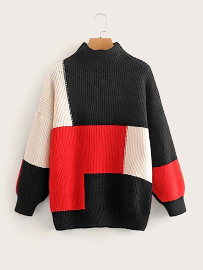 Drop Shoulder Cut And Sew Sweater