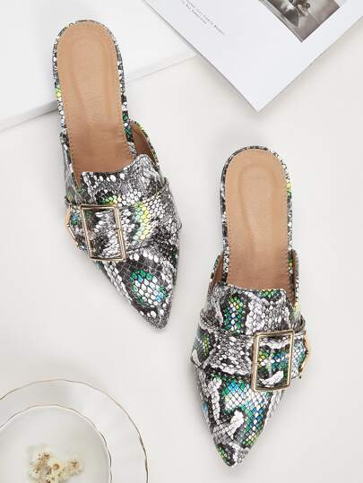 Point Toe Buckle Decor Snakeskin Flat Mules