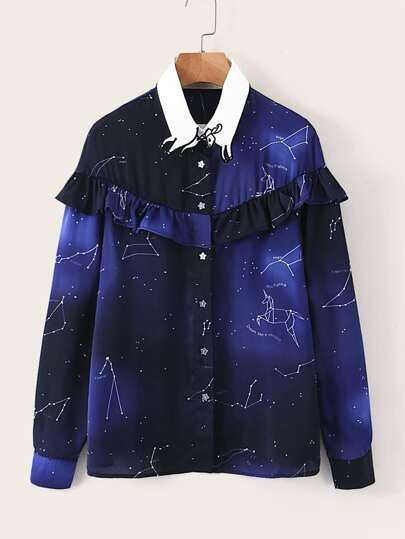 Constellation Print Frill Trim Blouse