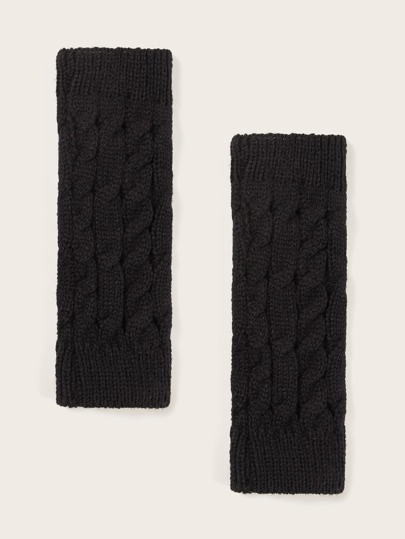 1pair Knitted Open Finger Gloves