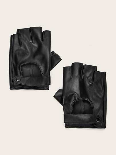 1pair Leather Open Finger Gloves