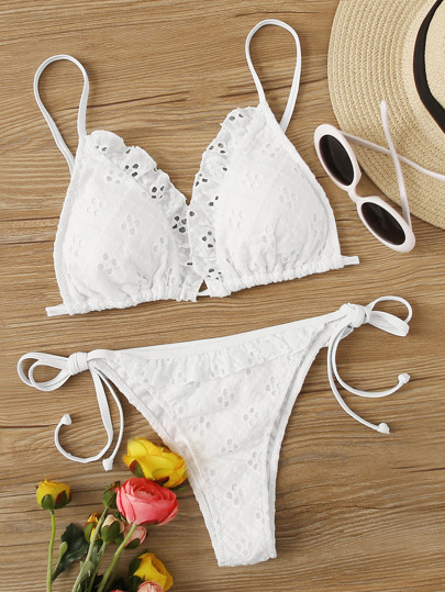 Eyelet Embroidery Triangle Top With Tie Side Bikini