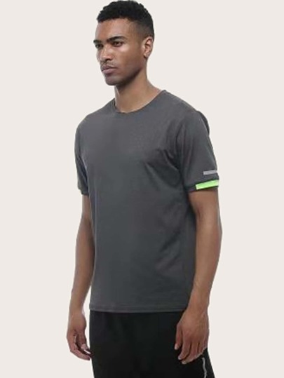 Men Contrast Panel Quick-Drying Sports Tee