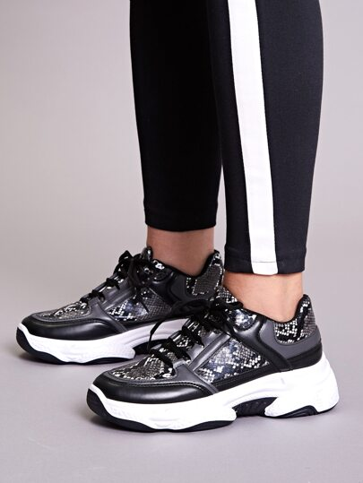 Snakeskin Print Lace-up Front Chunky Sneakers