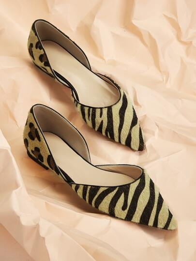 Point Toe Leopard & Tiger Pattern Flats