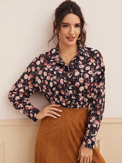 Floral Print Frill Trim Button Through Blouse