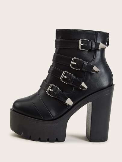 Buckle Decor Zip Back Chunky Heeled Boots