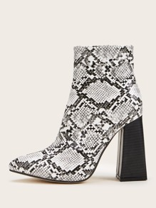 Point Toe Snakeskin Side Zip Chunky Boots