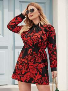 Plus Floral Print Tie Neck Fitted Dress
