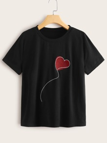 Heart Balloon Print Round Neck Tee