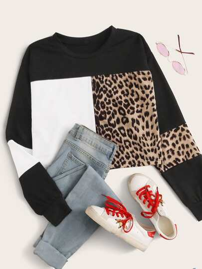 Leopard Color-Block Round Neck Sweatshirt