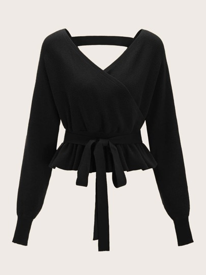 Plus Cut Out Back Belted Surplice Sweater