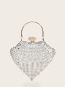 Rhinestone Decor Structured Satchel Bag