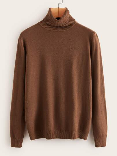 Solid Ribbed High Neck Sweater
