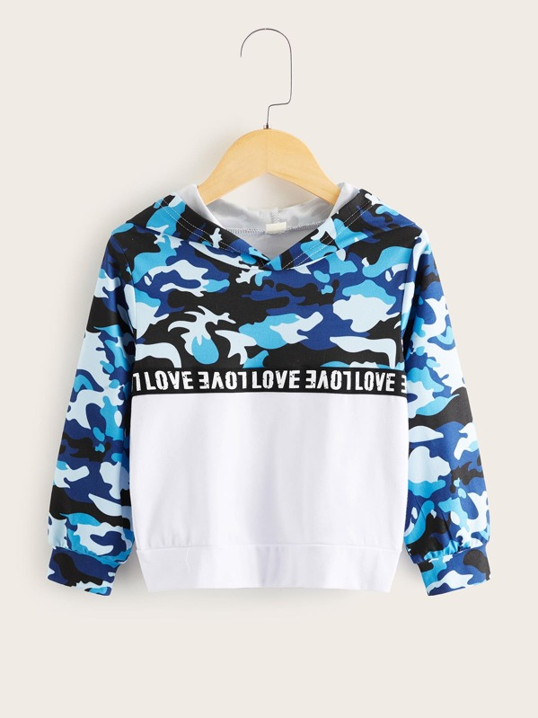 Toddler Boys Contrast Camo Panel Letter Graphic Hoodie, Multicolor