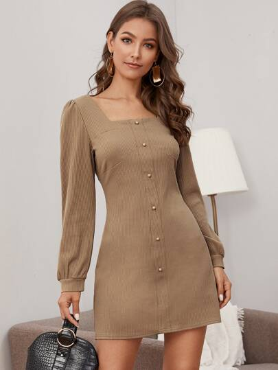 Solid Square Neck Button Detail Ribbed Dress