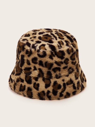 Leopard Pattern Fluffy Bucket Hat