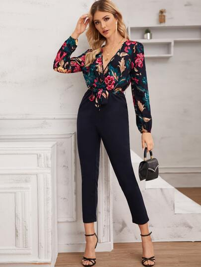 Floral Print Belted Combo Jumpsuit