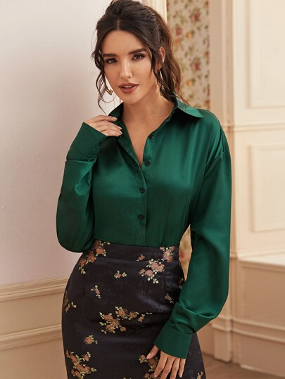 Solid Button Through Satin Blouse