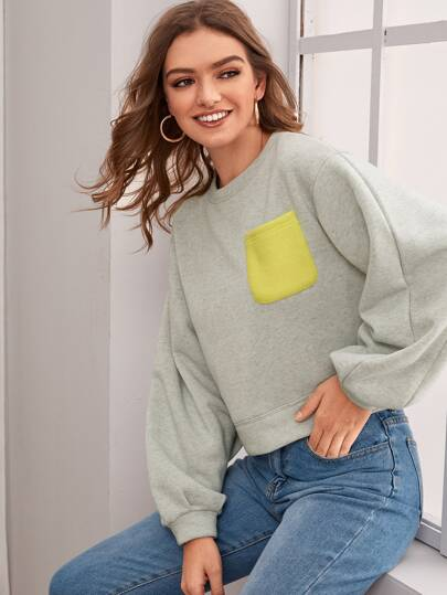 Color-Block Pocket Front Sweatshirt