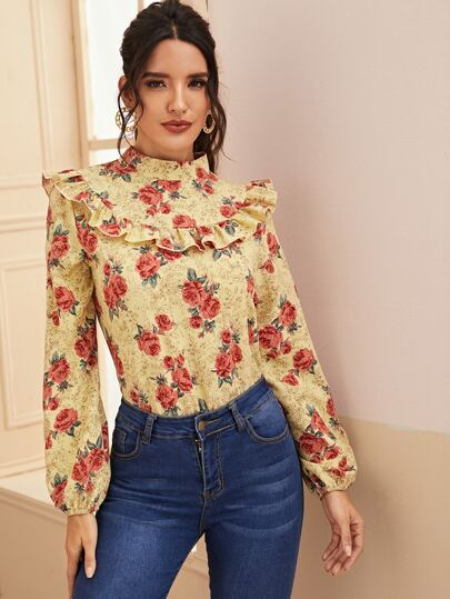 Floral Print Ruffle Trim Mock Neck Blouse