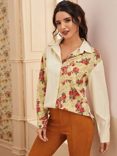 Floral Print Color-Block Button Through Blouse