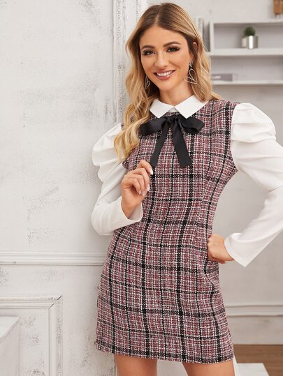 Tweed Contrast Puff Sleeve Tie Front Fitted Dress