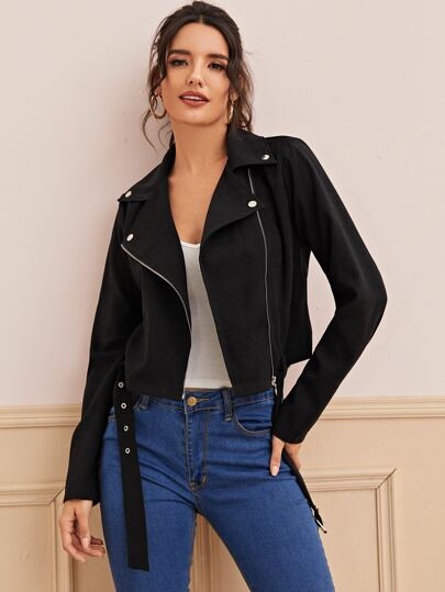 Zip Up Belted Biker Jacket