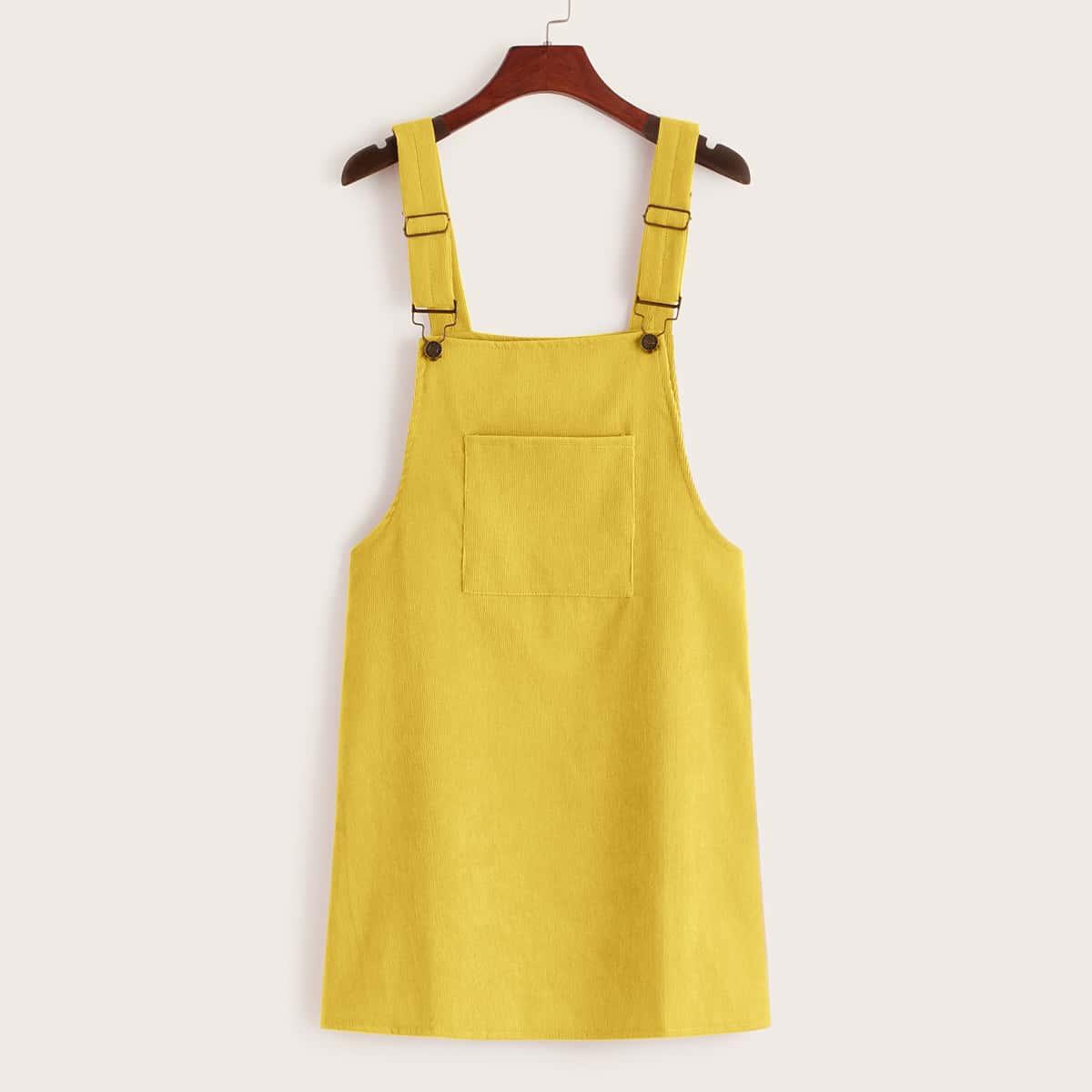 Вельветовое сарафан-платье с карманом