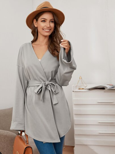 Solid Belted V-Neck Oversized Coat