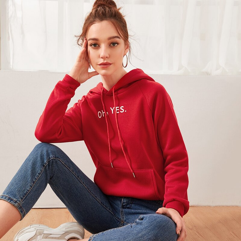Letter Graphic Hooded Sweatshirt, Red bright