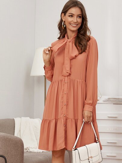 Tie Neck Ruffle Hem Shirt Dress
