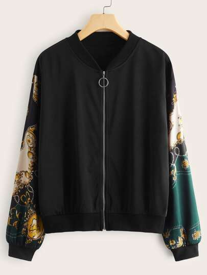 Scarf Print Zip Up Bomber Jacket
