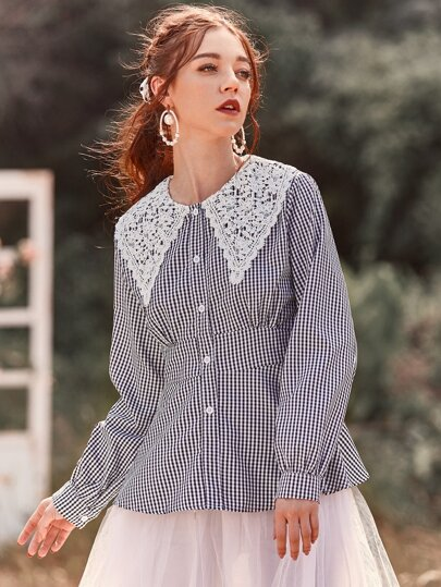 Gingham Contrast Lace Peplum Blouse
