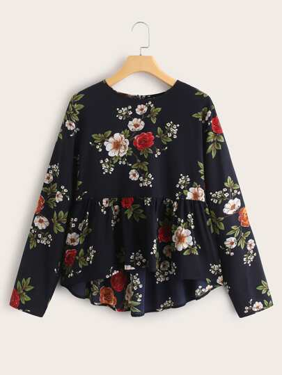 Allover Floral Print Babydoll Blouse