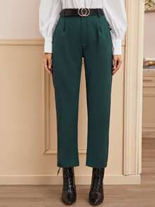 Solid Pocket Side Tailored Pants
