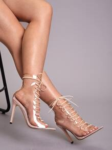 Open Toe Lace-up Front Stiletto Heels