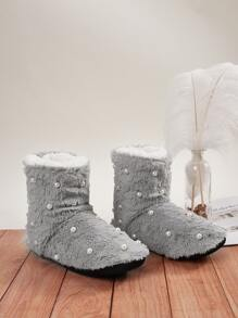 Faux Pearl Decor Fluffy Ankle Boots