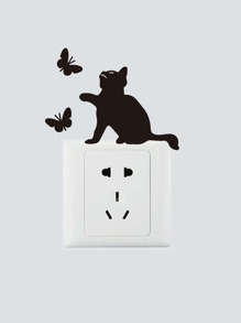 Cat Catch Butterfly Silhouette Switch Sticker