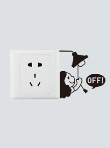Cute Girl Turn Off Light Switch Sticker