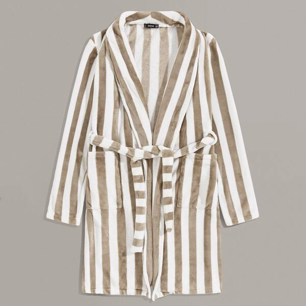 Men Shawl Collar Patch Pocket Striped Robe With Belt, Khaki