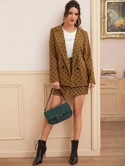 Allover Polka Dot Double Button Blazer