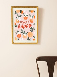 Orange & Slogan Wall Print Without Frame